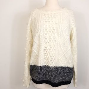 Gap cable knit wool Mohair 2 two tone sweater